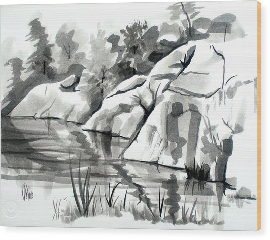 Reflections At Elephant Rocks State Park No I102 Wood Print
