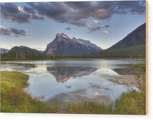 Reflections At Vermillion Lakes  Wood Print