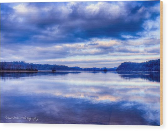 Reflections In Blue Wood Print by Paul Herrmann