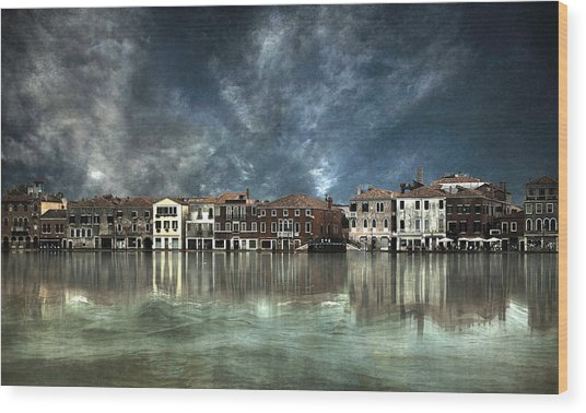 Reflections In Venice Wood Print by Nieves. Bautista