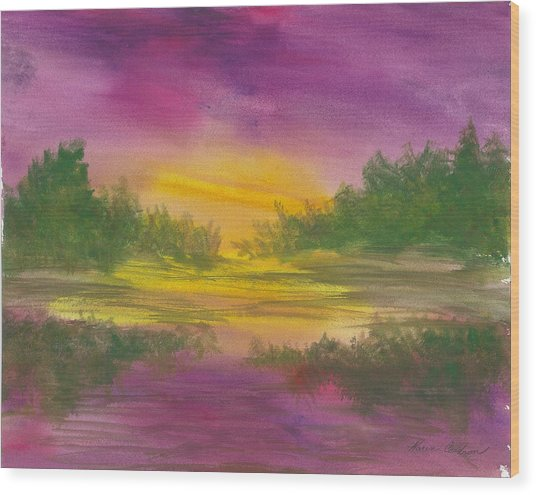 Reflections Wood Print by Karen  Condron