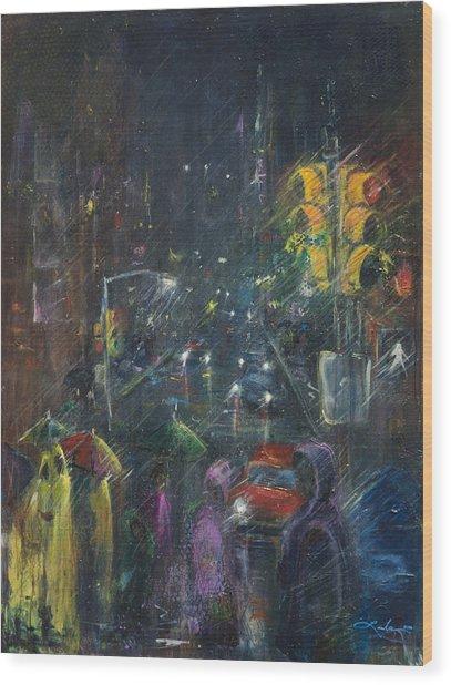 Reflections Of A Rainy Night Wood Print