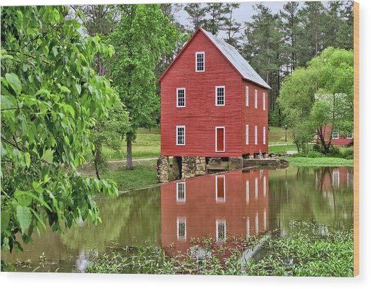 Reflections Of A Retired Grist Mill Wood Print
