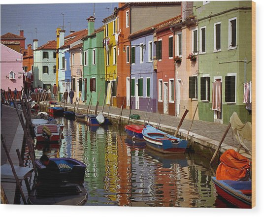 Reflections Of Burano Wood Print