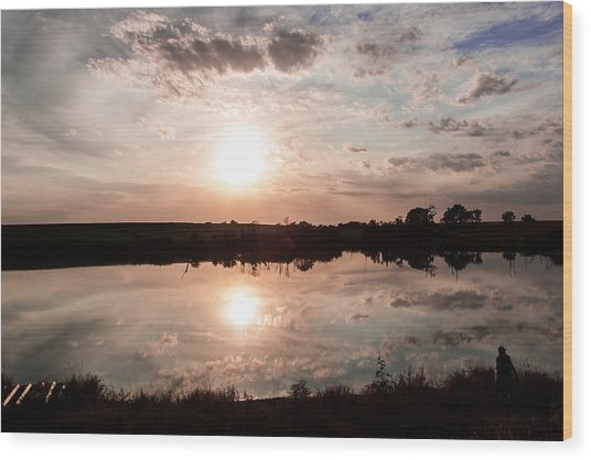 Reflections Of Sunset Wood Print