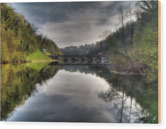 Reflections On Adda River Wood Print