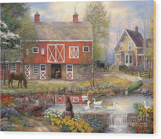 Reflections On Country Living Wood Print