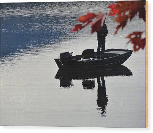 Reflections On Fishing Wood Print