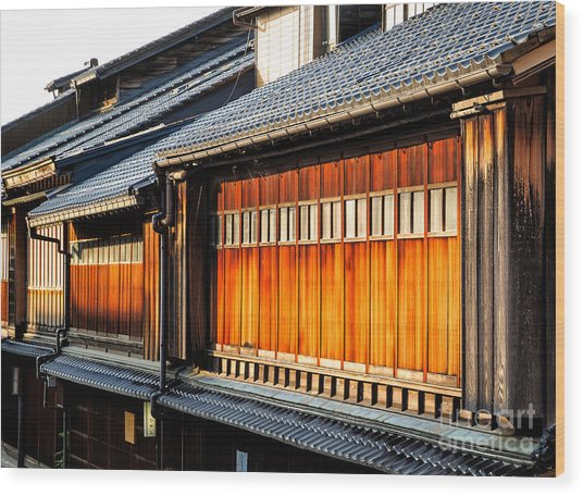 Reflections On Geisha Houses - Kanazawa City - Japan Wood Print