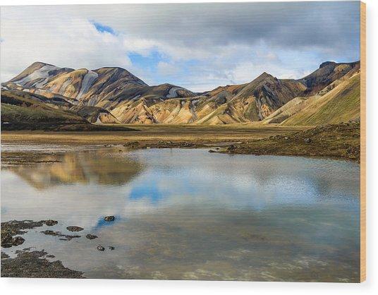 Reflections On Landmannalaugar Wood Print