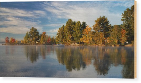 Reflections On Long Lake Wood Print