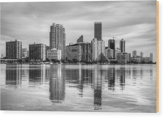 Reflections On Miami Wood Print by William Wetmore