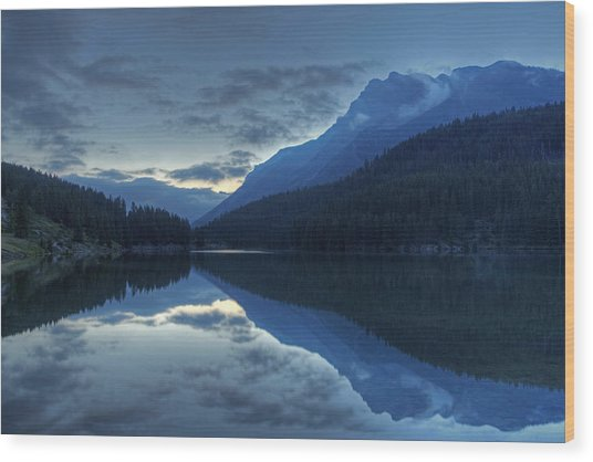 Reflections On Two Jack Lake Wood Print