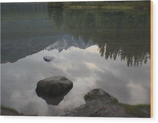 Reflections Two Jacks Lake Wood Print