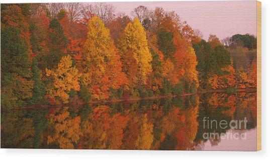 Reflective Lake Nockamixon Pano - Twilight Wood Print