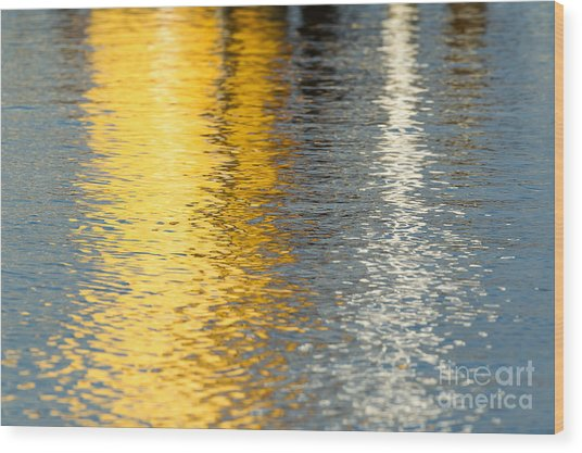 Reflective Water Colors Wood Print by Kelly Morvant