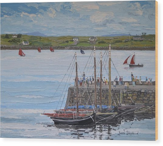 Regatta At Roundstone Harbour Connemara Wood Print