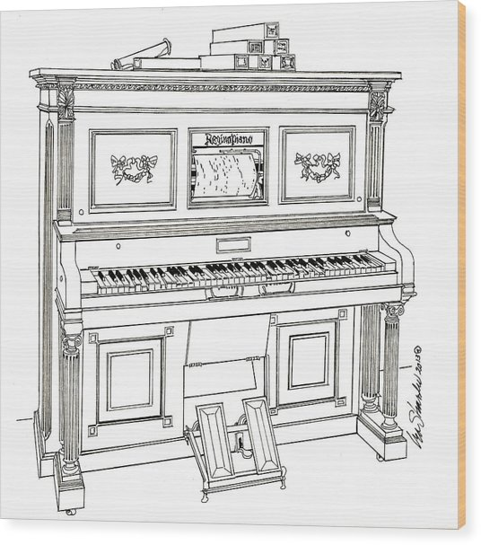 Regina Player Piano Wood Print