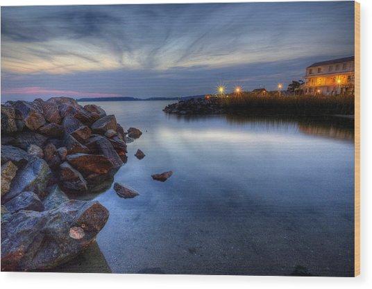 Rehoboth Bay Sunset At Dewey Beach Wood Print