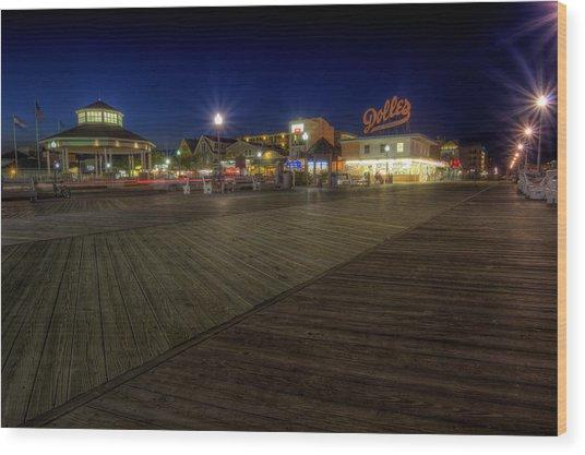 Rehoboth Beach Boardwalk At Night Wood Print