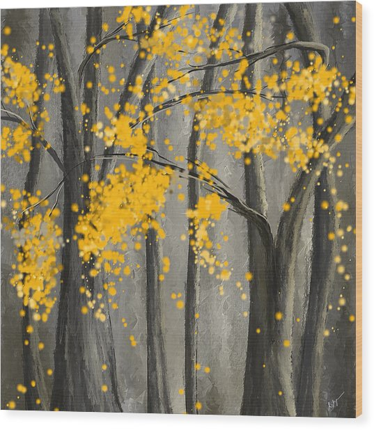 Rejuvenating Elements- Yellow And Gray Art Wood Print