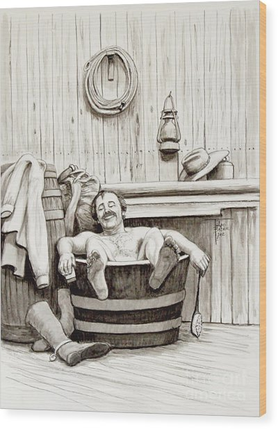Relaxing Bath - 1890's Wood Print