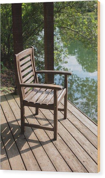 Alone By The Lake Wood Print