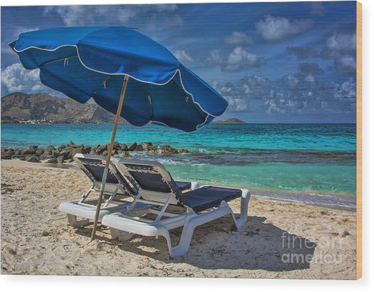 Relaxing In St Maarten Wood Print
