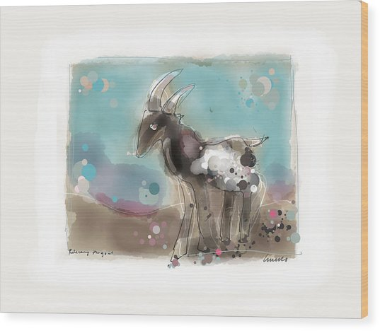 Releasing The Goat Wood Print by Peter Ciccariello