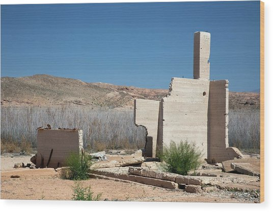 Remains Of House Flooded By Hoover Dam Wood Print by Jim West