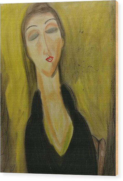Sophisticated Lady With The Dreamy Eyes Wood Print