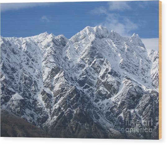 Remarkables Mountains  Wood Print by  Lines