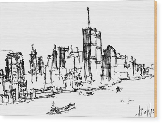 Remember World Trade Center Wood Print