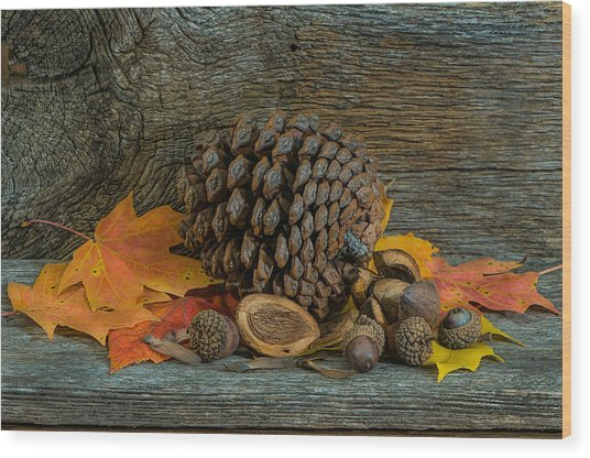 Remnants Of Fall Wood Print