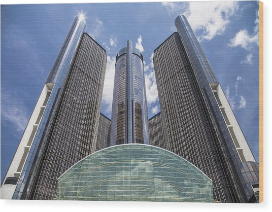 Renaissance Center From River Wood Print
