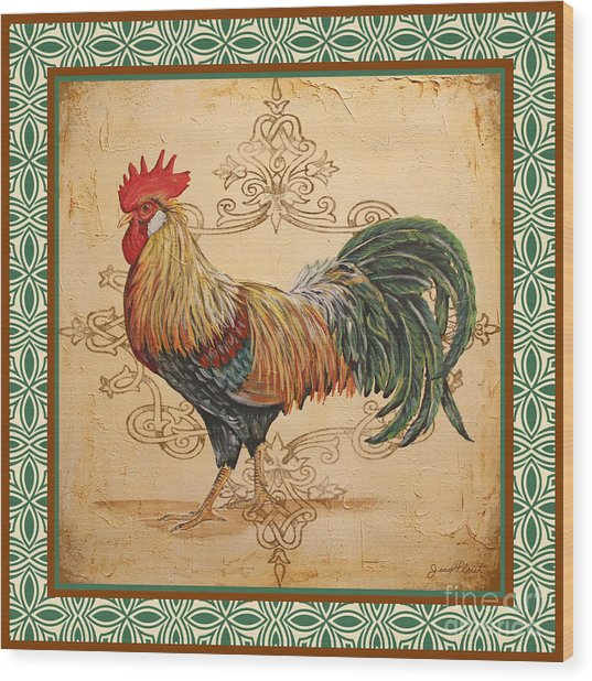 Renaissance Rooster-a-green Wood Print
