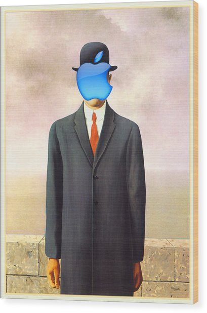 Rene Magritte Son Of Man Apple Computer Logo Wood Print