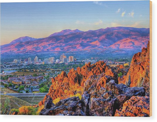 Reno Nevada Sunrise Wood Print