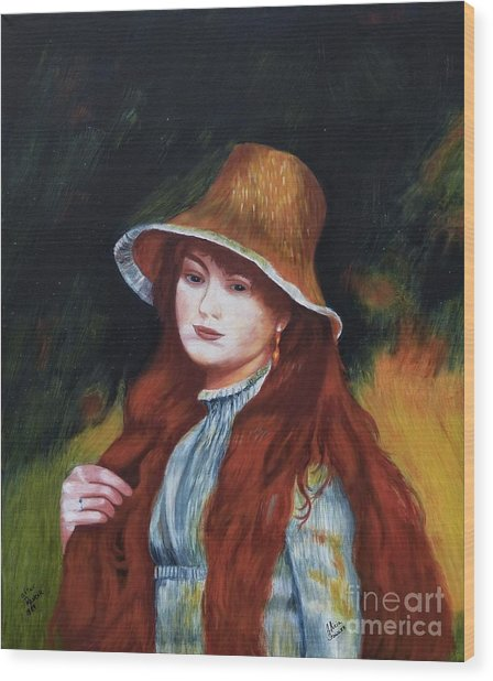 Renoir-young Girl In A Straw Hat Wood Print
