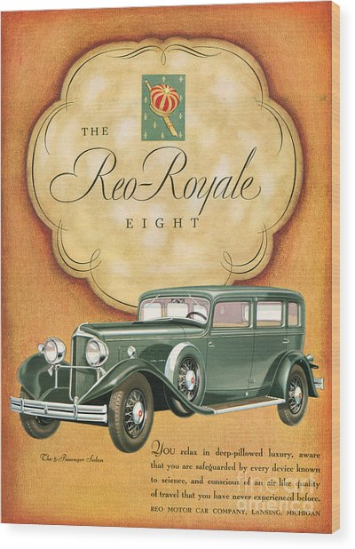 Reo Royale 1931 1930s Usa Cc Cars Wood Print by The Advertising Archives