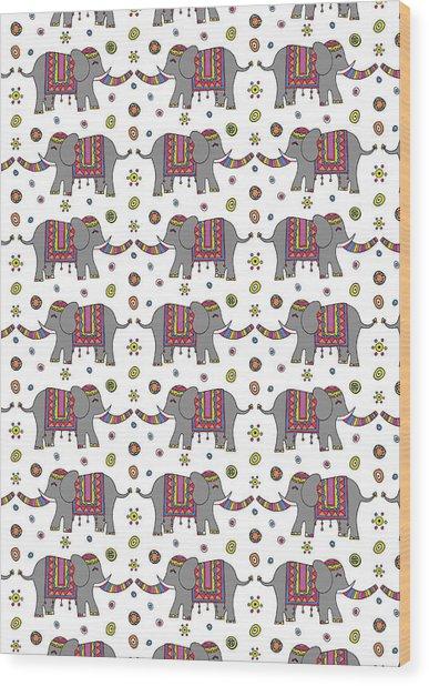 Repeat Print - Indian Elephant Wood Print