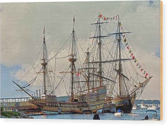 Replica Ships Mayflower And Hms Bounty Wood Print