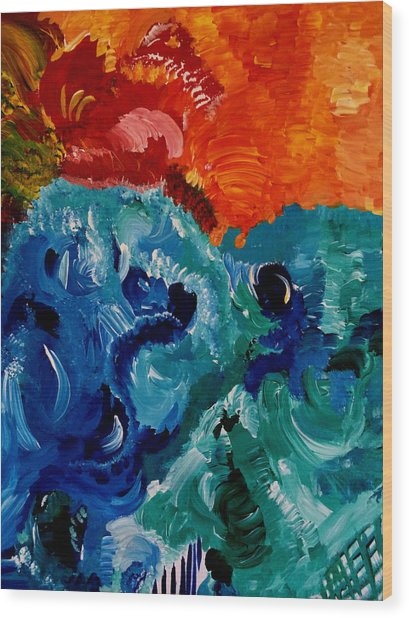 Reptile Sea And Sun Fun Wood Print