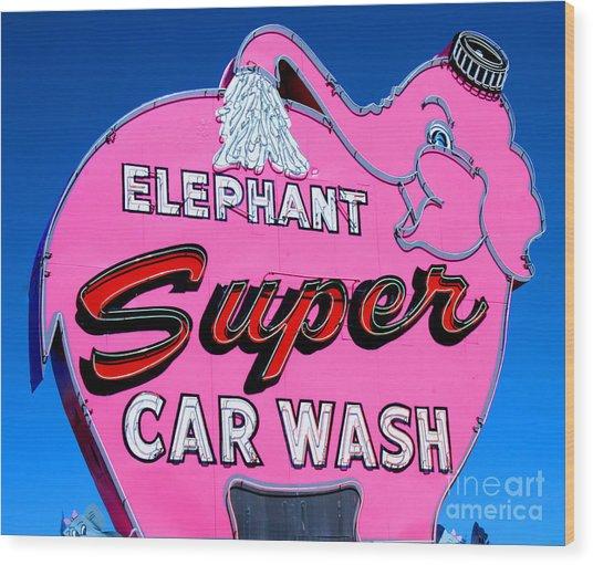 Elephant Super Car Wash Sign Seattle Washington Wood Print