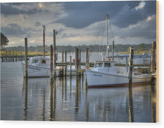 Rescue Fishing Boats Wood Print by Williams-Cairns Photography LLC