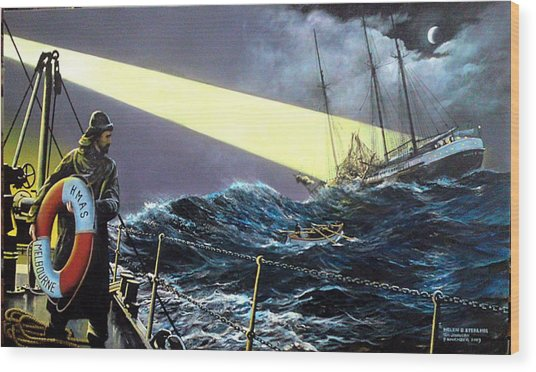 Rescue Of The Helen B.  Sterling 1922 Wood Print