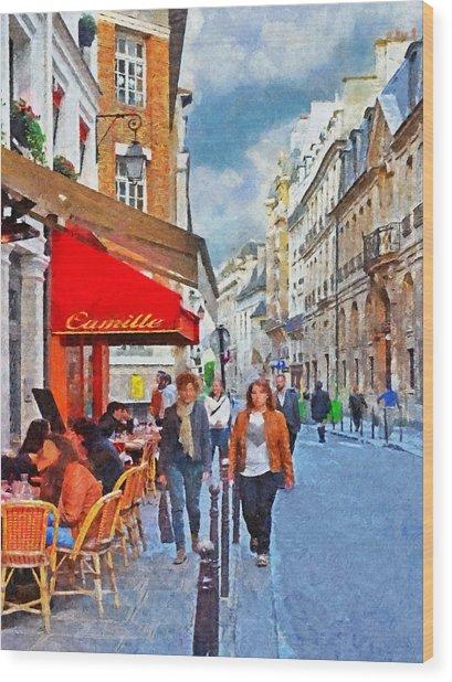 Restaurant Camille In The Marais District Of Paris Wood Print