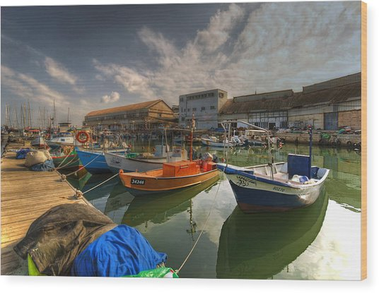 resting boats at the Jaffa port Wood Print