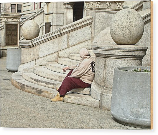 Resting On The Steps Of City Hall Wood Print by Mike McCool