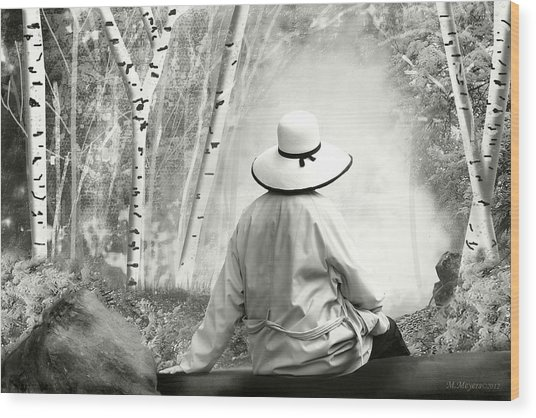 Resting Place - B/w Wood Print by Melisa Meyers